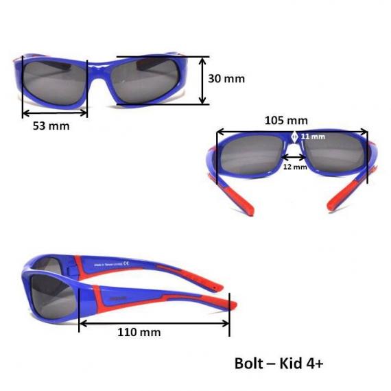 Детские солнцезащитные очки с поляризацией Real Kids Bolt 4+ черный/лайм