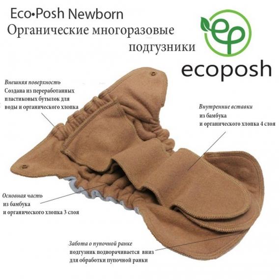 Многоразовый памперс Ecoposh Organic Newborn Ginger