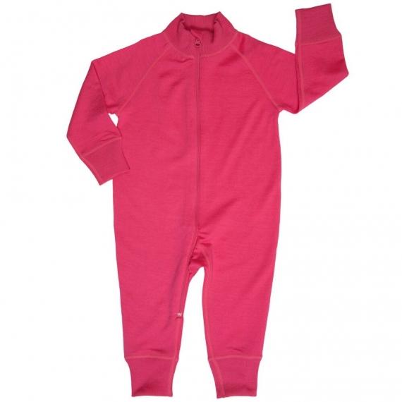 Комбинезон из шерсти мериноса на молнии ярко-розовый (размер 0-3 мес)