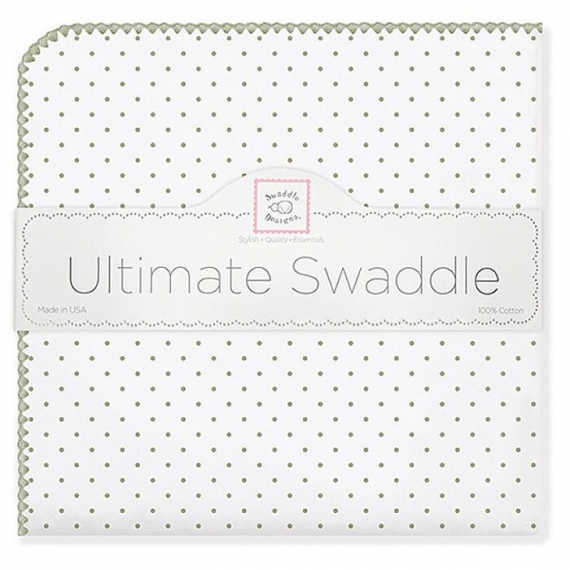 Фланелевая пеленка для новорожденного SwaddleDesigns Sage Polka Dot