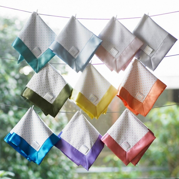 Комфортер платочек обнимашка Baby Lovie - Flannel Bright Blue Dot