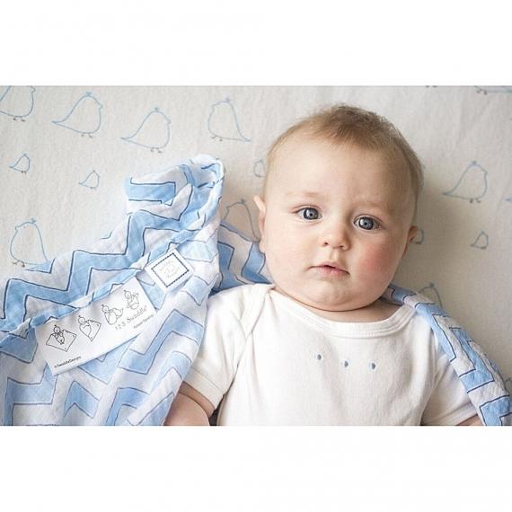 Пеленка детская тонкая SwaddleDesigns Маркизет Blue/Mocha Fish