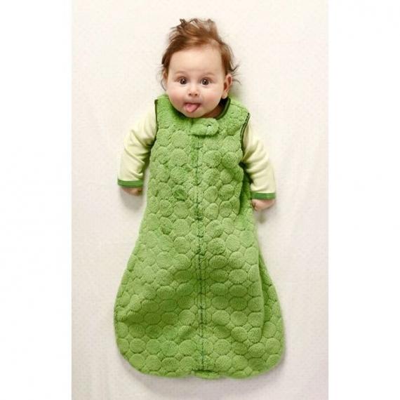 Спальный мешок для новорожденного SwaddleDesigns zzZipMe Sack 6-12M Flannel Lt KW w/KW Dots