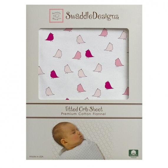 Простынь детская SwaddleDesigns Fitted Crib Sheet VB Lt. Chickies
