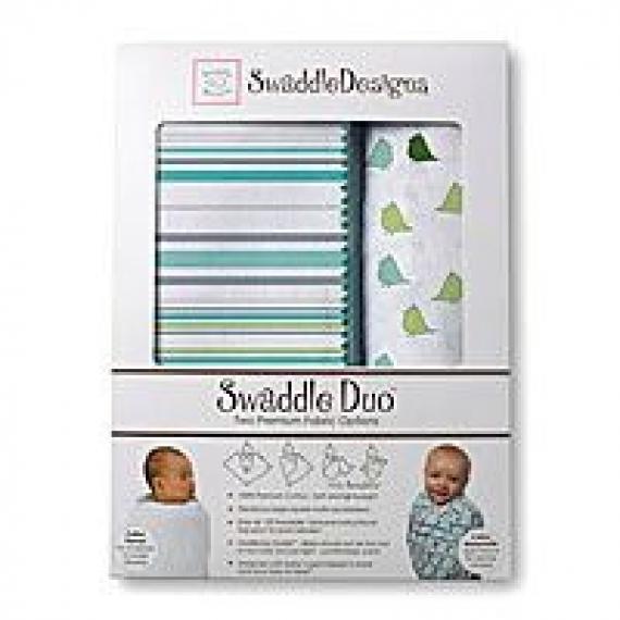 Наборы пеленок SwaddleDesigns Swaddle Duo Stripes URB + Little Chickies MSB