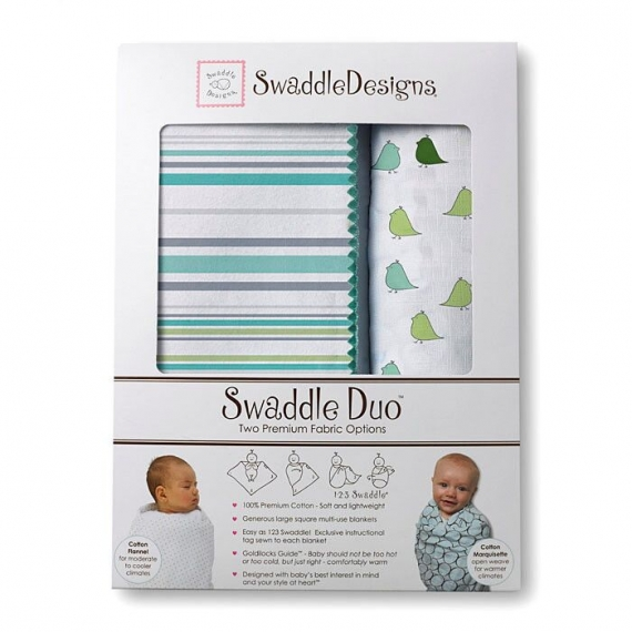 Набор пеленок SwaddleDesigns Swaddle Duo SC/TQ Lt Chickies