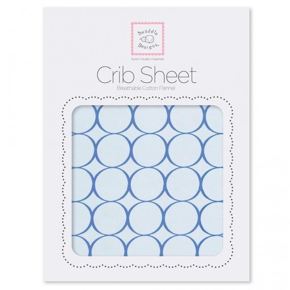 Детская простынь Fitted Crib Sheet True Blue Mod