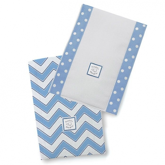 Полотенчики SwaddleDesigns Baby Burpie Set Blue/TB Trim Chevron