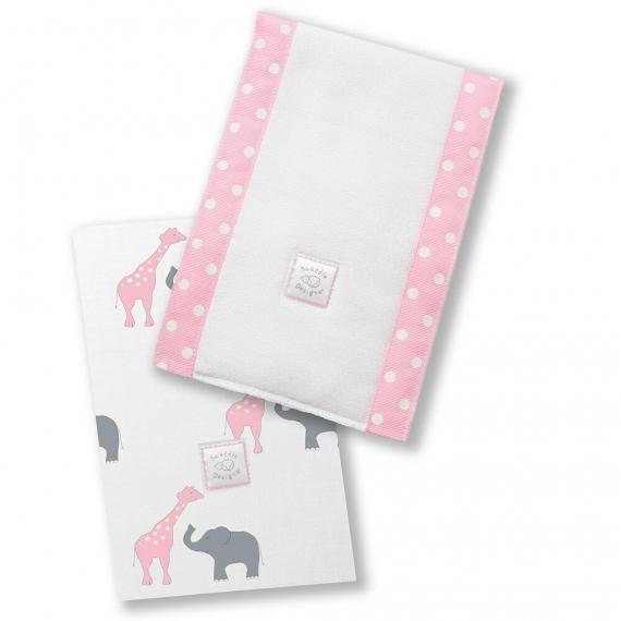 Полотенчики SwaddleDesigns Baby Burpie Set Pink Elephant & Giraffe