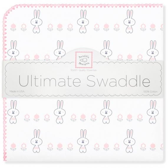 Пеленка фланель для новорожденного SwaddleDesigns Ultimate Garden Bunnie Pink