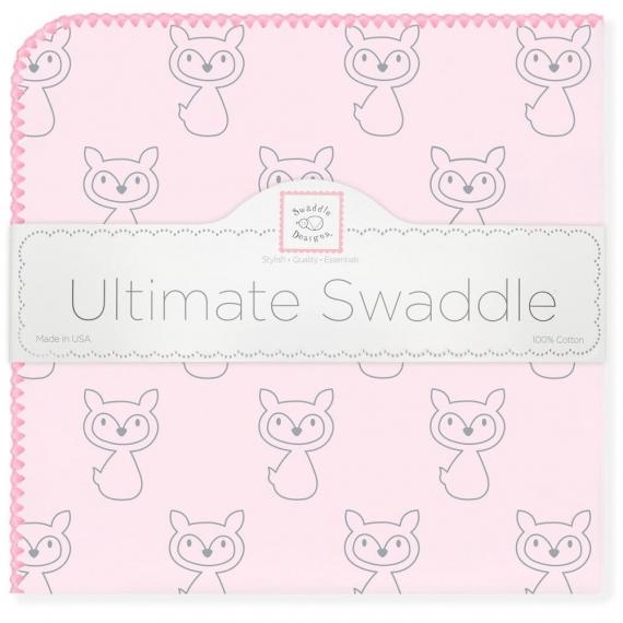 Пеленка фланель для новорожденного SwaddleDesigns Ultimate Gray Fox Pink