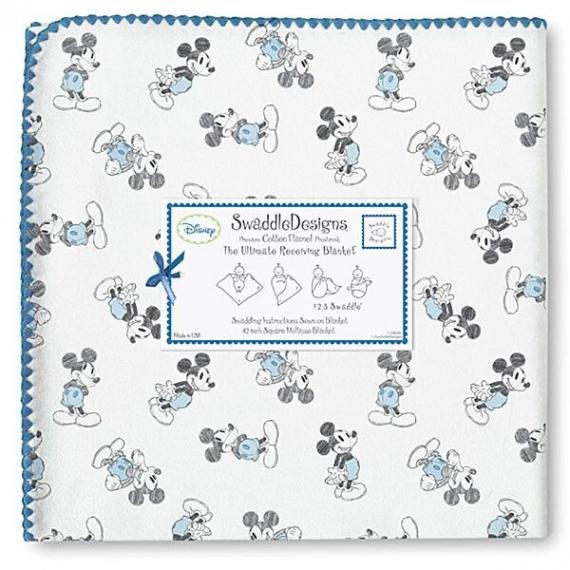 Фланелевая пеленка для новорожденного SwaddleDesigns Blue/Gray Mickey