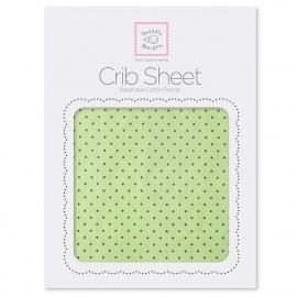 Детская простынь Fitted Crib Sheet Lime w/BR Dots