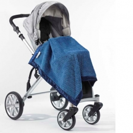 Плед детский SwaddleDesigns Stroller Blanket Blue Puff Circles