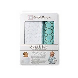 Наборы пеленок SwaddleDesigns Swaddle Duo Polka Dot URB + Mocha Mod Circles MSB
