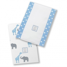 Полотенчики SwaddleDesigns Baby Burpie Set Blue Elephant & Giraffe