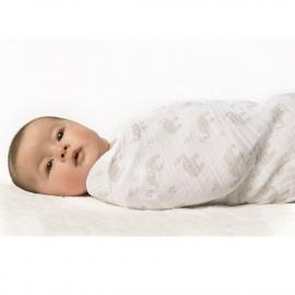 Пеленка детская тонкая SwaddleDesigns Маркизет Simple Stripes Pstl SeaCrystal