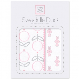 Набор пеленок SwaddleDesigns Swaddle Duo Pink Little Bunnie