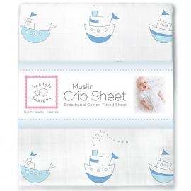 Простынь детская муслиновая SwaddleDesigns Pstl Blue Little Ships