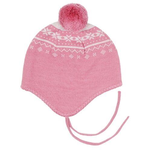 Шапочка на завязках розовая (размер 0-12 мес)