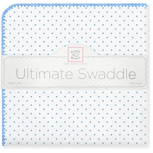 Фланелевая пеленка для новорожденного SwaddleDesigns Bt. Blue Polka Dot
