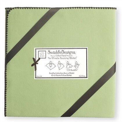 Фланелевая пеленка для новорожденного SwaddleDesigns Lime w/BR Trim