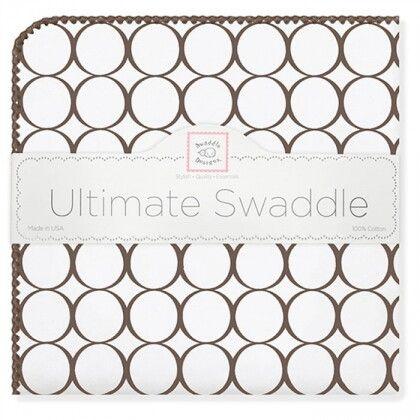Фланелевая пеленка для новорожденного SwaddleDesigns Brown Mod/WH