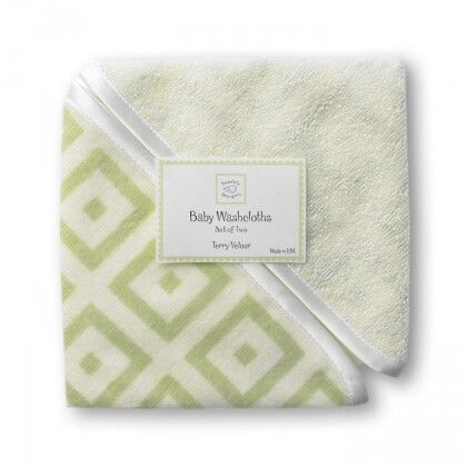 Детские мочалки SwaddleDesigns Washcloth set Kiwi w/BR Mod S