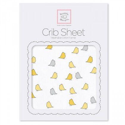 Простынь детская SwaddleDesigns Fitted Crib Sheet Y Lt. Chickies