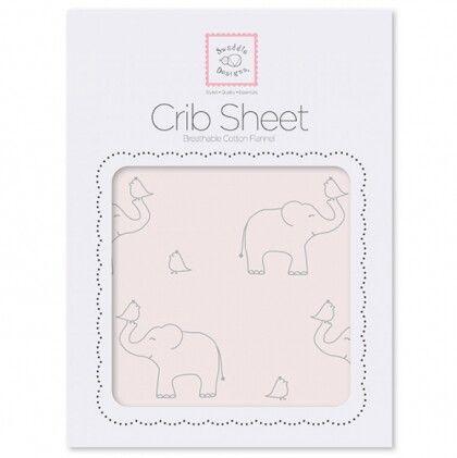 Простынь детская SwaddleDesigns Fitted Crib Sheet Pink Sterling Deco Elephants
