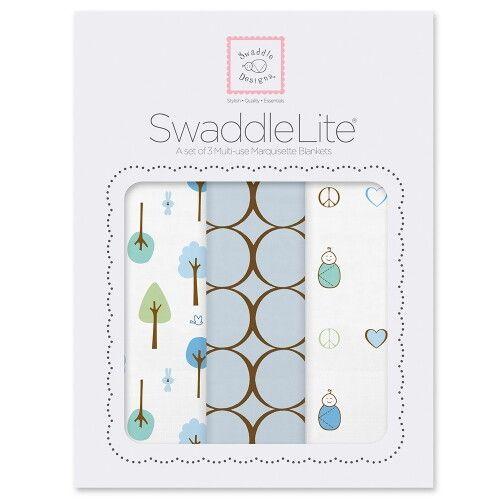 Набор пеленок SwaddleDesigns SwaddleLite Cute & Calm Pastel Blue