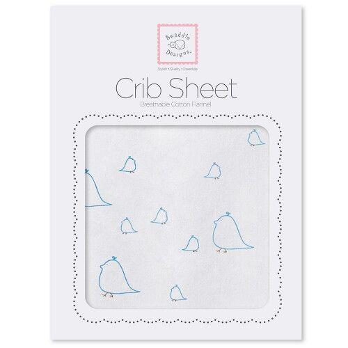 Детская простынь Fitted Crib Sheet Blue Chickies