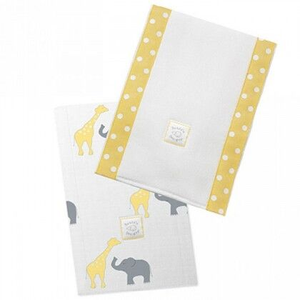 Полотенчики SwaddleDesigns Baby Burpie Set Yellow Elephant & Giraffe