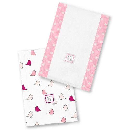 Полотенчики SwaddleDesigns Baby Burpie Set Pink/VB Chickies