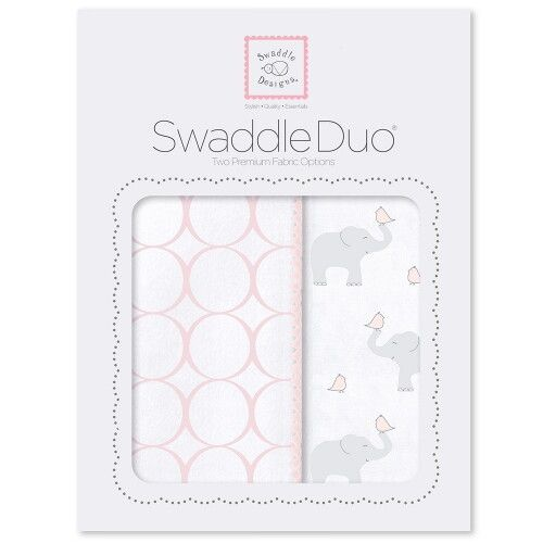 Набор пеленок SwaddleDesigns Swaddle Duo PP Elephant & Chickies Mod Duo