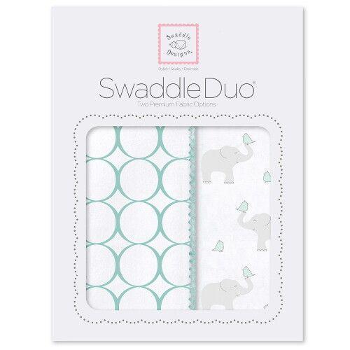 Набор пеленок SwaddleDesigns Swaddle Duo SC Elephant & Chickies Mod Duo