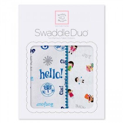 Набор пеленок SwaddleDesigns Swaddle Duo Blue Hello SM