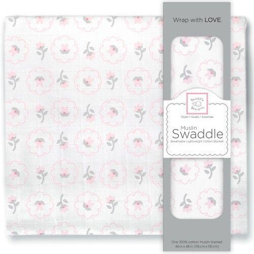 Пеленка муслиновая SwaddleDesigns Pstl Pink Posies