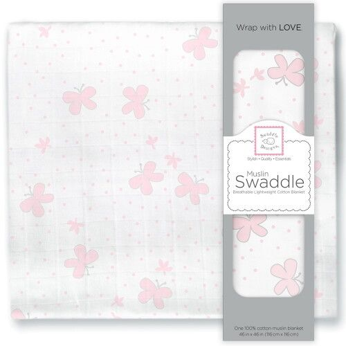 Пеленка муслиновая SwaddleDesigns Pstl Pink Butterflies