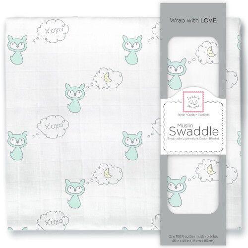 Пеленка муслиновая SwaddleDesigns SeaCrystal Fox & Moon