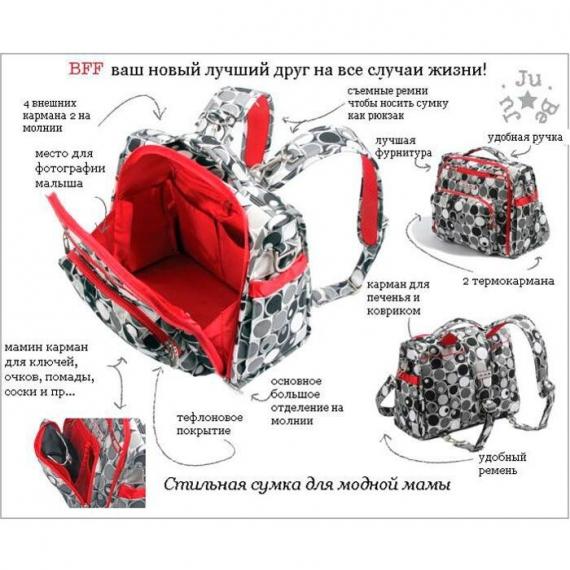 Сумка рюкзак для мамы Ju-Ju-Be B.F.F. scarlet petals