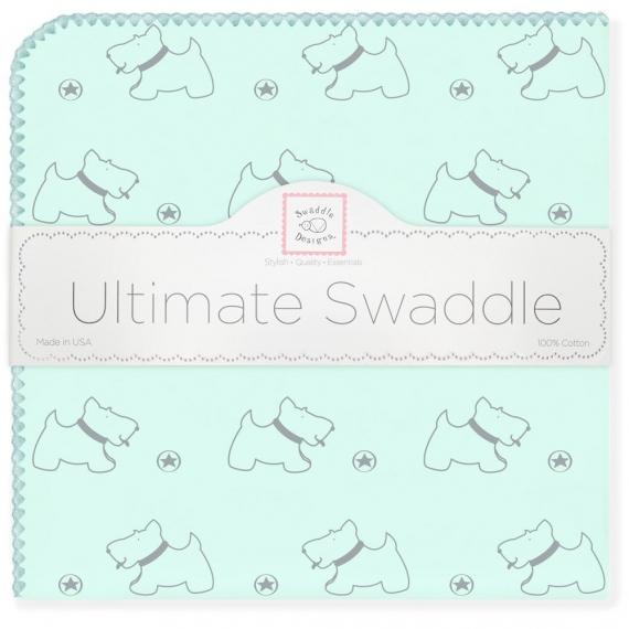 Фланелевая пеленка для новорожденного SwaddleDesigns Gray Doggie SeaCrystal