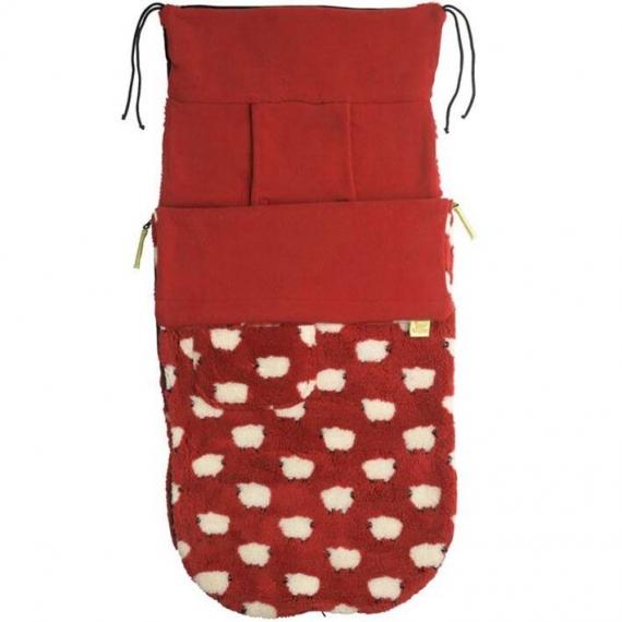 Теплый флисовый конверт Buggysnuggle Sheep Red