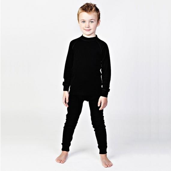Леггинсы из шерсти мериноса черные (размер 6-7 лет)