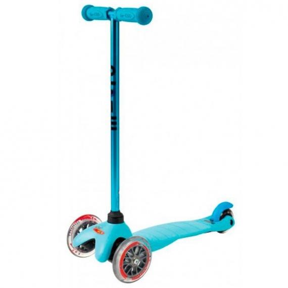 Самокат Mini Micro Candy голубой с прозрачными колесами для детей от 1,5 до 5 лет