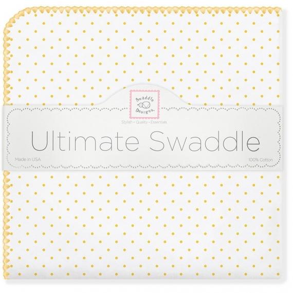 Фланелевая пеленка для новорожденного SwaddleDesigns Yellow Dot