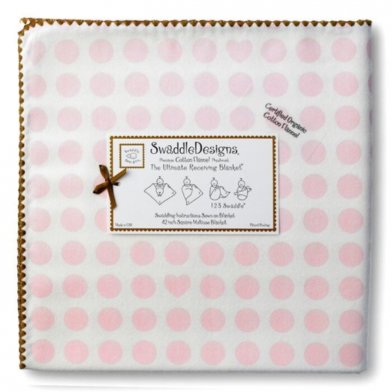 Фланелевая пеленка Organic Pink Dot/Heart M