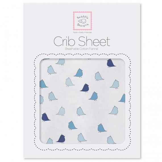 Простынь детская SwaddleDesigns Fitted Crib Sheet Blue/TB Chickies