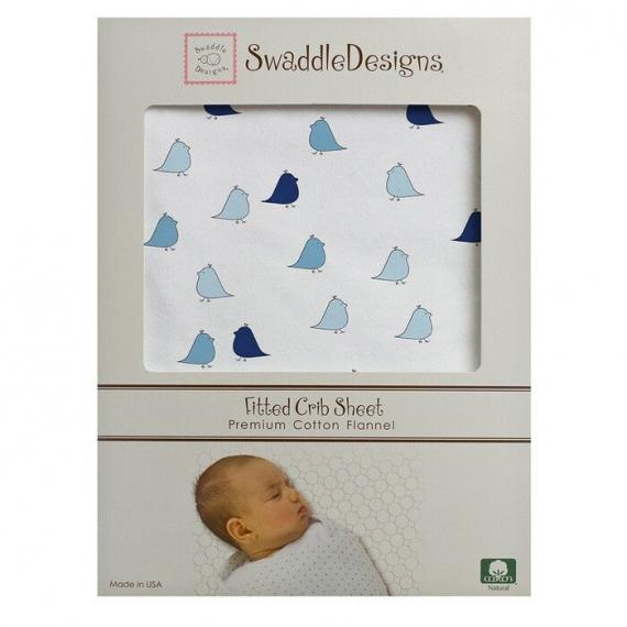 Простынь детская SwaddleDesigns Fitted Crib Sheet TB Lt. Chickies