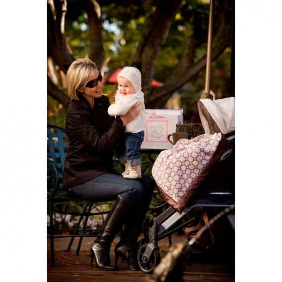 Плед детский SwaddleDesigns Stroller Blanket Ivory Puff w/Blue